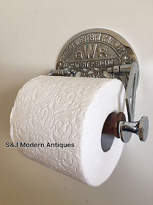 Victorian Toilet Roll Holder Novelty Chrome Unusual GWR Vintage Design Silver 6