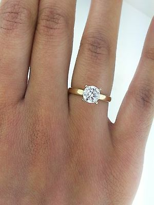 ... 1 ct Round Cut Diamond Solitaire Engagement Ring 14K Solid Yellow Gold 4 4adae33bb