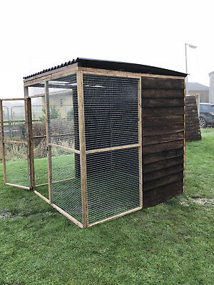 COVERED WALK IN Animal Run Enclosure 6FT Full Board 19G Rabbit Chicken  Small Pet