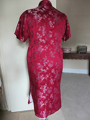 HALF PRICE!!  SILK BROCADE Traditional Oriental Chinese Cheong Sum Dress - L 7