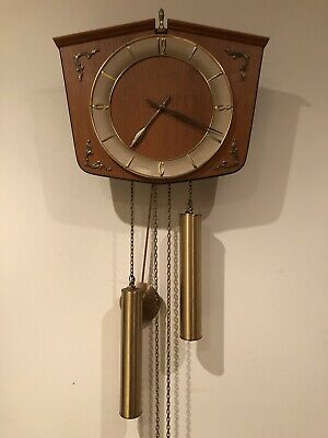 Junghans Vintage Pendulum Wall Clock With Brass Weights 2