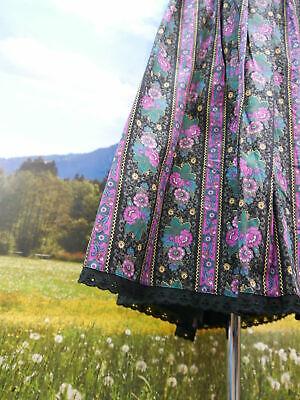 Trachtenrock Baumwolle schwarz mit wunderschönen Blumen Trachten Rock Gr.50 3