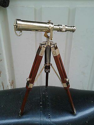 DECORATIVE TABLE Telescope With Wood Tripod Brass Nautical Beauteous Decorative Telescopes