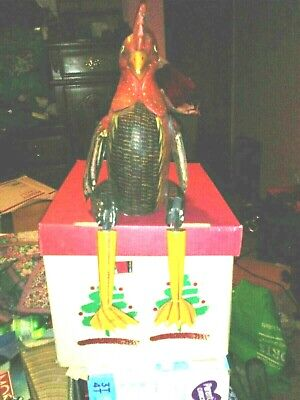 Vintage Wooden Brightly Colored Rooster Jointed Sitting 20 In 4