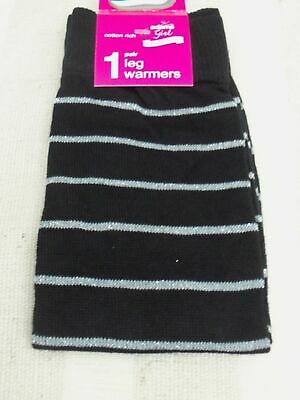 2 x pairs Black Leg Warmers Silver-sparkle Stripes ADAMS One Size COTTON RICH 2