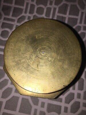 Antique Asian Brass Enameled Lidded Canister Jar 10