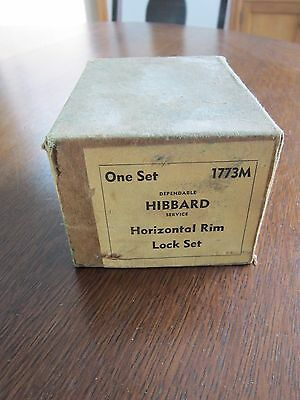 Vtg Hibbard Black Horizontal Rim Lock Set #1773M in original box 3
