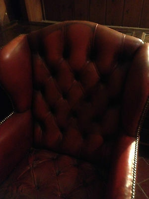 Good Wing Back Chesterfield Style Leather Oxblood Red Vintage Armchair Button 11