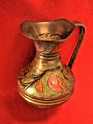 Vtg  Brass Enamel Cloisonne Champleve Small Pitcher Vase 4'' Tall made in India 3