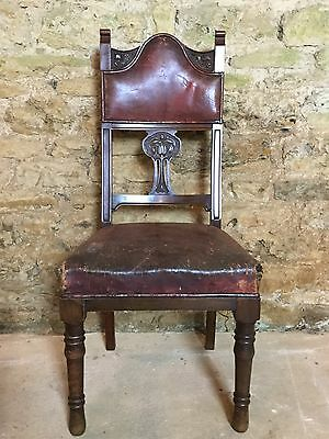 Antique Leather Hall Chair 2