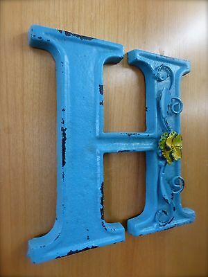 """BLUE CAST IRON WALL LETTER """"H"""" 6.5"""" TALL rustic vintage decor sign child nursery 2"""