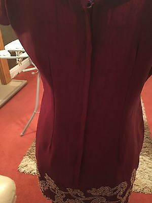 Ladies Beautiful 3 Piece Indian Red Gold Bollywood Shalwar Kameez Suit Size 10 6