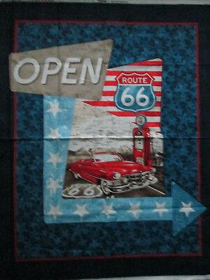 Route 66 Retro Car USA Large Fabric Cotton Panel 2