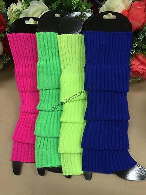 LEG WARMERS Legging Socks Knitted Women Costume Dance Disco 80s Party Knit Fluro 2