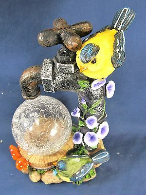 Yellow Bird on a Water Faucet w/ glass globe and LED light yard or patio decor 2