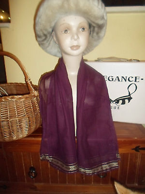 1 NEW Mixed Fibre Ladies Scarf Purple+Subtle Pattern Each End~ Gift Idea #61
