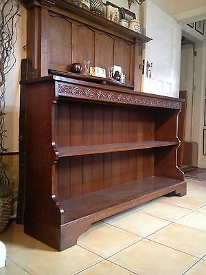 A Pair of Solid Oak Bookcases / Dressers Lunette Carved Cornice Maker Stamp 7
