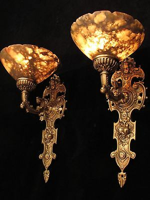 wall light sconces angel faces  solid cast bronze custom made by local artist 2