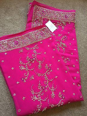 Saree- Bollywood Fashion Wedding Party Wear Heavy Designer Sari Indian Asian 9
