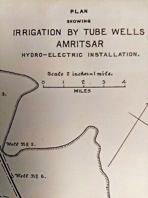 1915 Map Plan of Irrigation by Tube wells Amritsar Hydro-Electric Installation