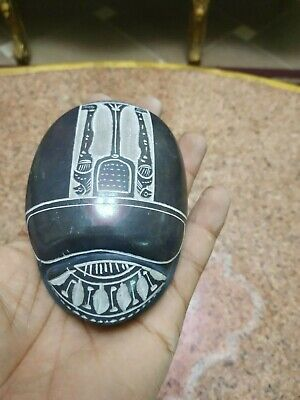 RARE ANCIENT EGYPTIAN ANTIQUE Scarab Carved Granite  For decoration 2