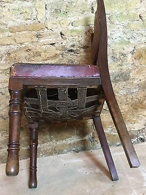Antique Leather Hall Chair 6
