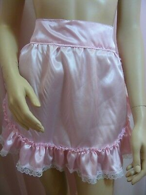 adult baby sissy pink satin apron fancydress cosplay vintage french maid pinny 3