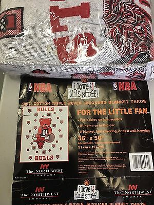 Brand New Vintage Chicago Bulls Baby Triple Woven Jacquard Blanket With Bear 5
