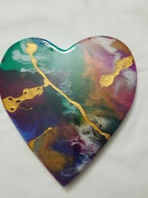 "8"" Resin Heart on Wood - Resin Art - Abstract Art - Resin Painting 2"