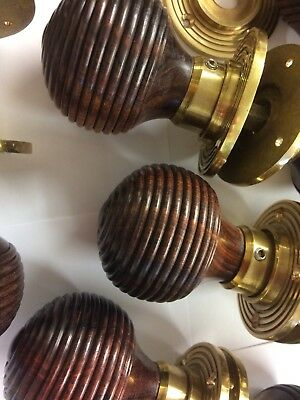 8x Pair Rosewood Beehive door handles,Victorian antique Style beehive DOOR Knobs 10