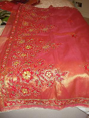 Bn Ladies / Girls Two-Tone Tissue Saree With Cutwork Design & Blouse 11