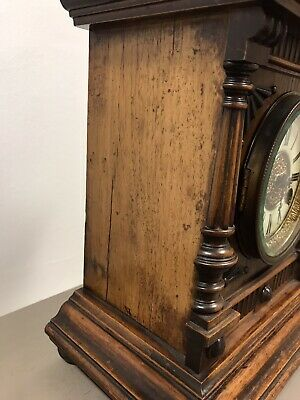 Victorian Black Forest Golden Oak 14 Day Mantle Clock By H.a.c. Working. 8