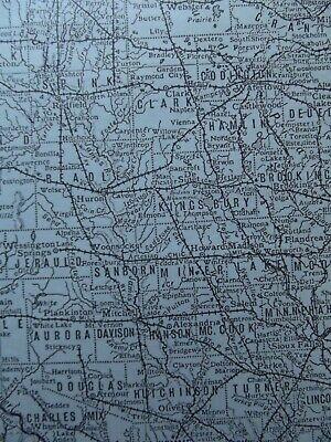 Vintage Map: South Dakota, United States, by Emery Walker, 1926, B/W 4