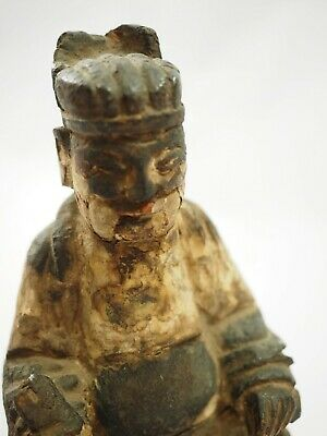 Chinese Polychrome Wood Carved Seated Emperor Ming Dynasty 1600-1700 6