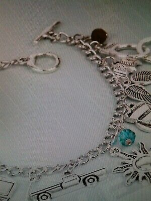 SUPERNATURAL BRACELET WITH SAM DEAN CASTIEL BOBBY AND CROWLEY ITEMS  Silver 5