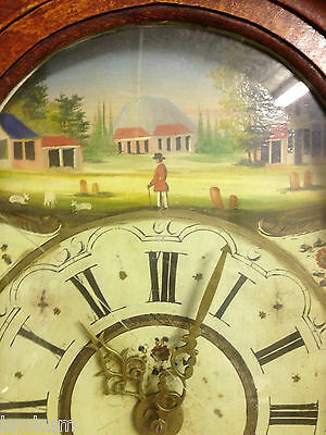 Early Friesland Dutch Wall Case Clock Weights ~ Handpainted Face~ Alarm ~Antique