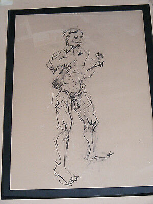 Figure life drawing nude expressive charcoal / paper, man standing, A1 size @ 3