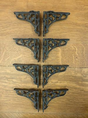 "8 SMALL BROWN ANTIQUE-STYLE 4"" SHELF BRACKETS CAST IRON rustic garden SCROLL"