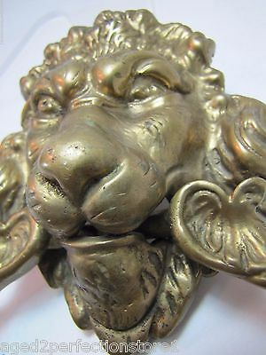 Old Brass Figural Lions Head Dauphin Koi Door Pull ornate architectural hardware 9