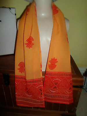 1 NEW Colourful Mixed Fibre Pretty Ladies Scarf Orange+Red Gift Idea #82 2