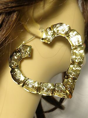 2 Of 3 Large 5 Inch Bamboo Heart Hoop Earrings In Silver And Gold Tone