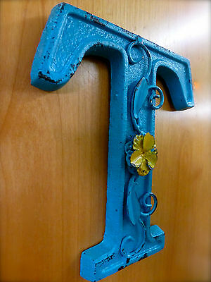 "BLUE CAST IRON WALL LETTER ""T"" 6.5"" TALL rustic vintage decor sign child nursery 2"