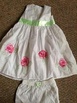 BNWT Target White With Green And Pink Roses Dress And Pants Set Age 2 4