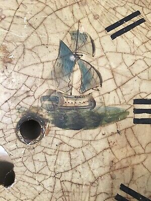 Crusty Antique Grandfather Clock Dial With Painted Tall Ships & Flowers 3