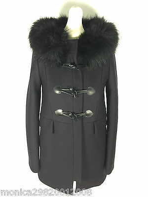 3833aa04 ZARA NAVY BLUE Duffle Coat With Faux Fur Collar Size Small Ref 7904 744