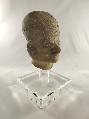 Amazing Archaic Style Bust Pottery on Clear acrylic display base -Mesoamercian? 2