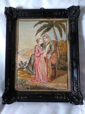 Antico Quadro 32,5x26 MEZZO PUNTO cornice in legno vintage motivo religioso 9