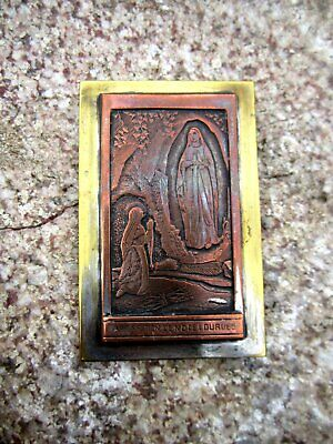 Antiguo Pequeño Imagen Aparición Maria de Lourdes Cobre Latón Plateado Hecho 3