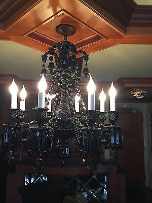 Stunning BACCARAT Zenith Black Noir Onyx Midnight Crystal 8 Light Chandelier!