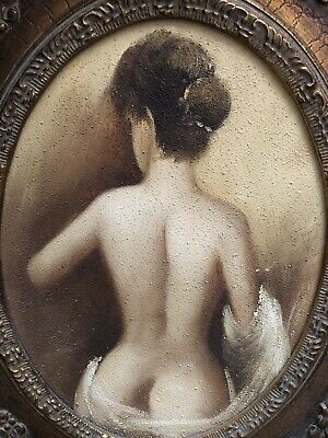 Lot Of Two Vintage Antique Style Ladies Mid Century Nude Portraits/Paintings 4